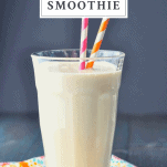 Glass of healthy peach smoothie with a text title box at top