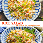 Long collage image of Rice Salad with Corn Bacon and Pimentos