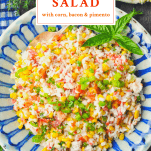 Overhead shot of a bowl of rice and corn salad with text title at the top