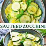 Long collage of sauteed zucchini