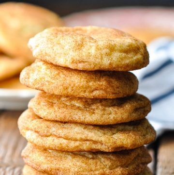 Close up front shot of six Snickerdoodles stacked on top of each other