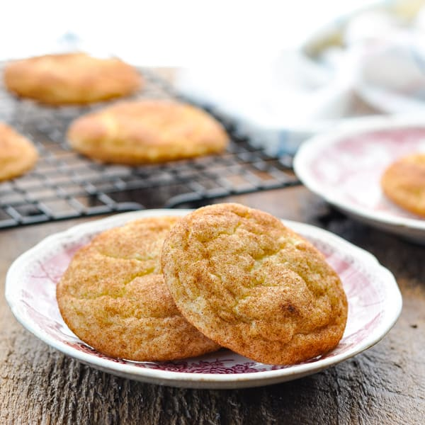 Square image of two snickerdoodle cookies on a plate