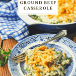 Plate of spinach and ground beef casserole with a text title at the top