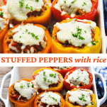 Long collage image of Stuffed Peppers with Rice
