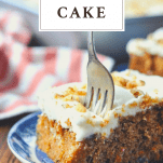 Fork digging into a piece of carrot cake with text title at the top