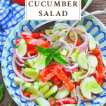 Overhead shot of tomato cucumber onion salad with text title on top