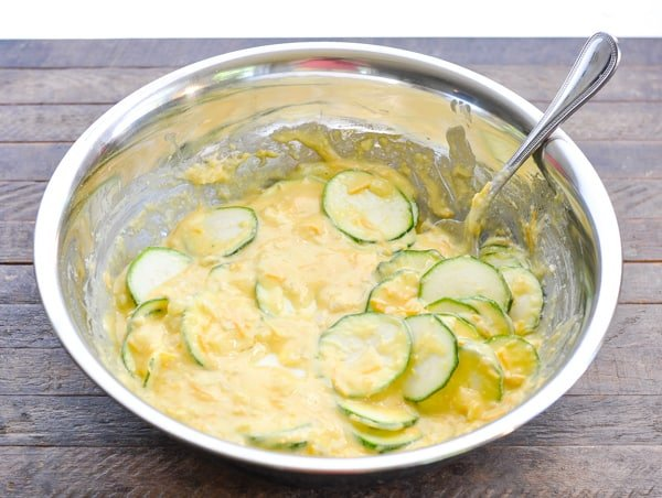Batter for zucchini pie in a mixing bowl