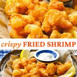 Long collage image of fried shrimp recipe