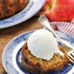 Overhead image of easy apple cake served on a blue and white plate