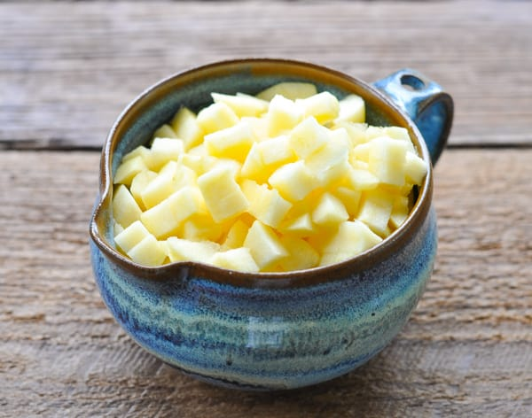 Diced fresh apples in a bowl