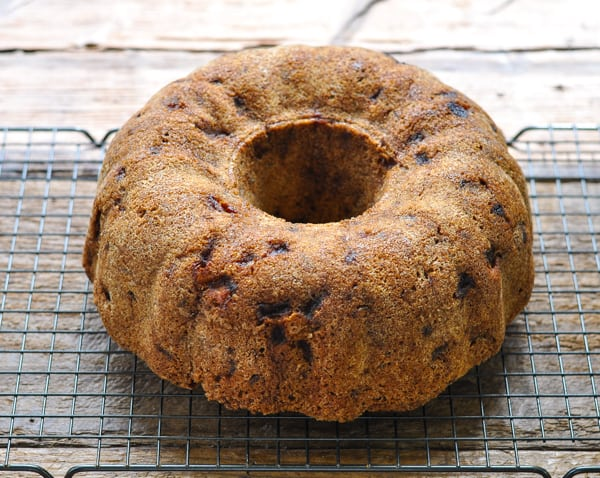 Bundt cake cooling on a wire rack