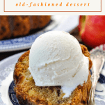 Close up shot of a slice of fresh apple cake with ice cream and a text title box at the top