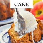Fork in a slice of moist apple cake with text title box at top