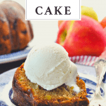 Slice of apple bundt cake on a plate with text title box at the top