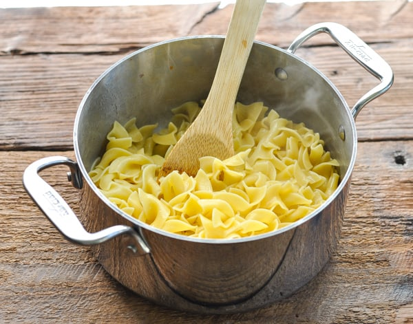 Buttered noodles in a pot