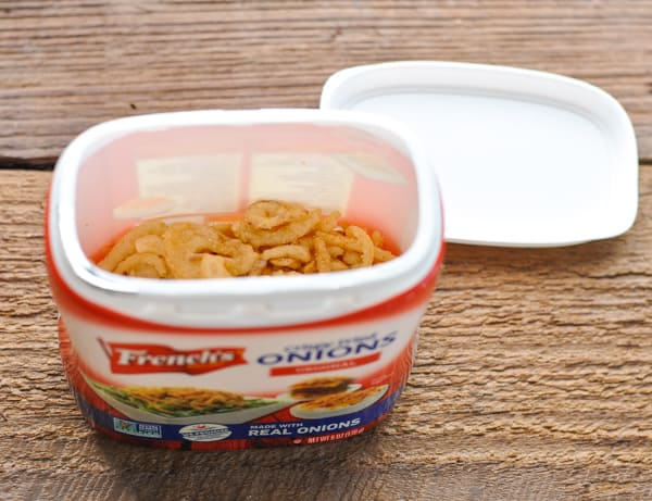 Container of crispy fried onions