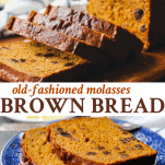 Long collage image of Quick Boston Brown Bread Recipe