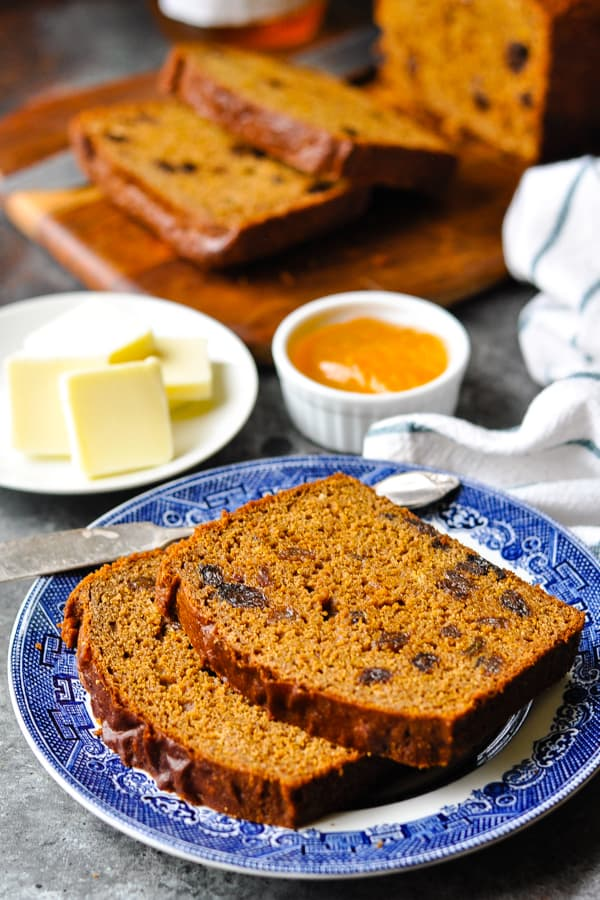 Quick sweet molasses brown bread recipe on a plate with butter and jam