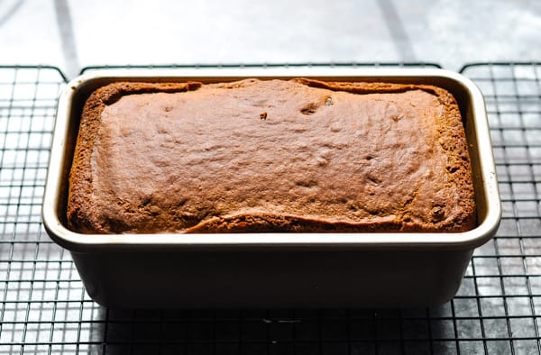 Baked brown bread in loaf pan