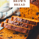 Front shot of a loaf of brown bread with text title box at top