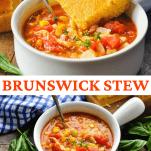 Long collage image of Brunswick Stew