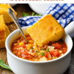 Bowl of brunswick stew with text title box at the top