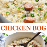 Long collage image of Chicken Bog