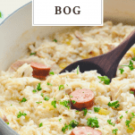 Wooden spoon stirring chicken bog with text title box at the top