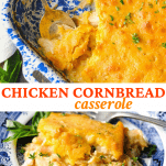 Long collage image of chicken cornbread casserole