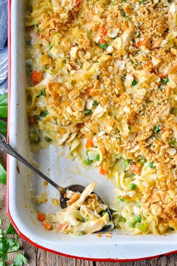 Close up overhead shot of chicken noodle casserole from scratch