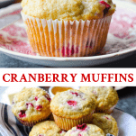 Long collage of Cranberry Muffins