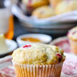 Close up front shot of easy cranberry muffins