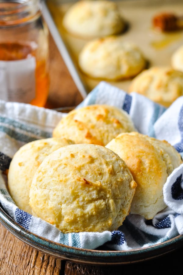 Front shot of a bowl of homemade drop biscuits