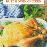 Side shot of crispy golden brown whole roasted chicken with a text title box at the top