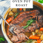 Overhead shot of Dutch Oven Pot Roast with a text title box at the top