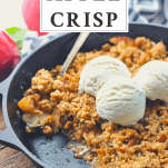 Side shot of easy apple crisp with vanilla ice cream and text title box at top