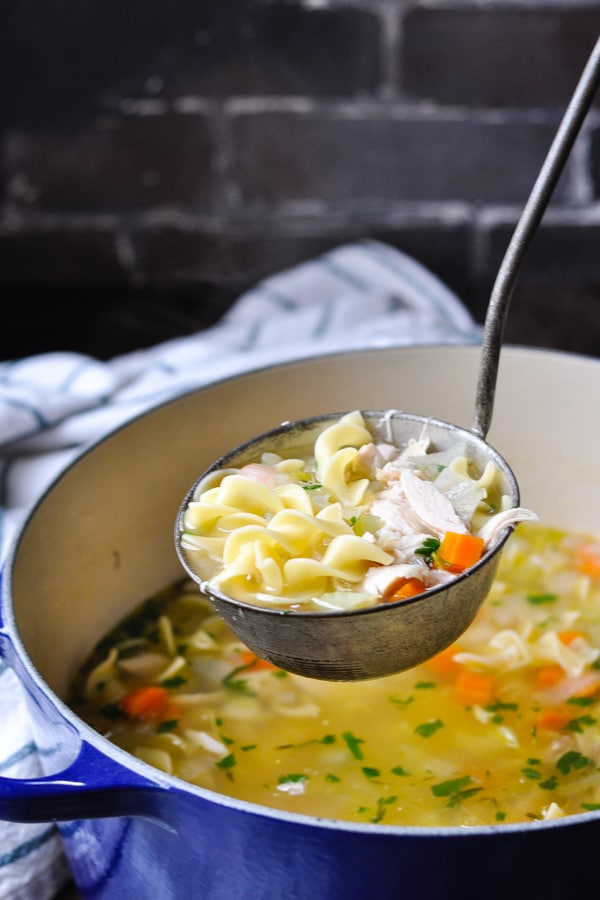 Ladle full of easy homemade chicken noodle soup recipe