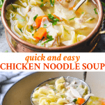Long collage image of Easy Chicken Noodle Soup