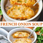 Long collage image of Easy French Onion Soup