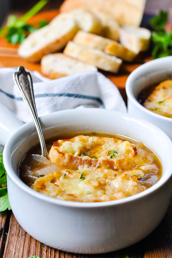 Front shot of a bowl of easy french onion soup