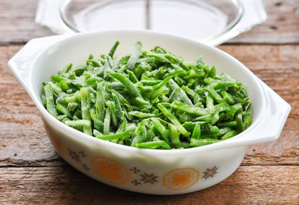 French cut green beans in a pyrex dish