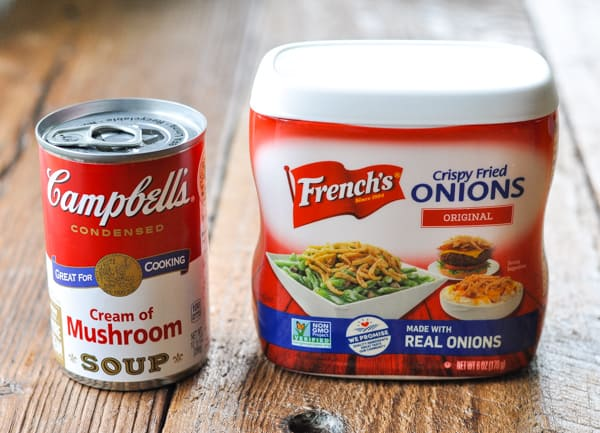 Can of cream of mushroom soup and a can of french fried onions