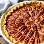 Close up side shot of an easy pecan pie recipe