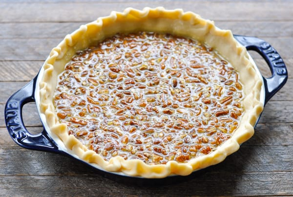 Easy pecan pie in an unbaked pie shell