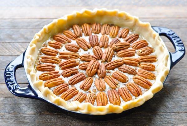 How to arrange pecans on top of pie