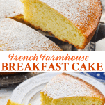 Long collage of French Farmhouse Breakfast Cake