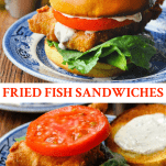 Long collage image of crispy fried fish sandwiches