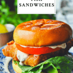 Front shot of fried fish sandwiches with text title box at the top
