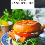 Close up front shot of a plate of fried fish sandwich with text title box at the top