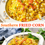 Long collage image of Fried Corn